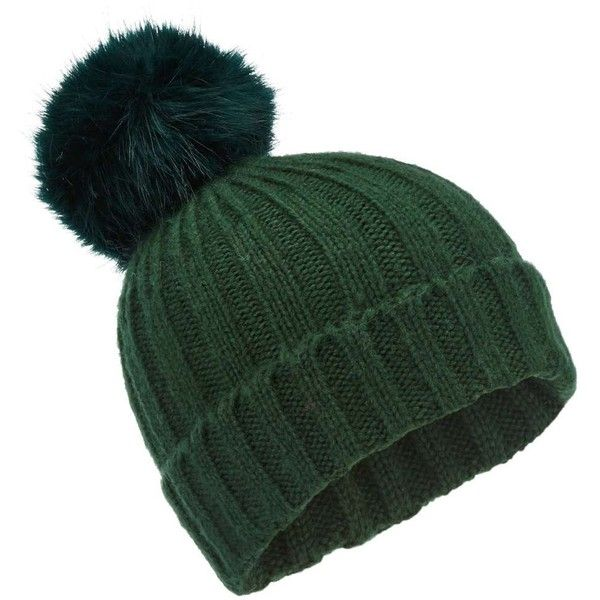9bbee07f4d6932 Miss Selfridge Green Pom Beanie Hat ($19) ❤ liked on Polyvore featuring  accessories, hats, dark green, pom pom hat, fur beanie, fur beanie hat, beanie  cap ...