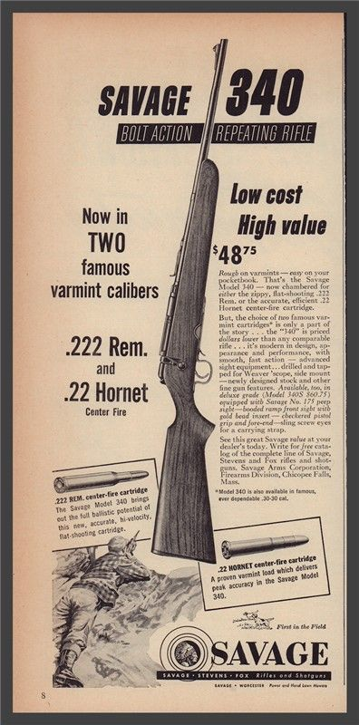 1954 SAVAGE 340 Bolt Action Repeating RIFLE AD : Other