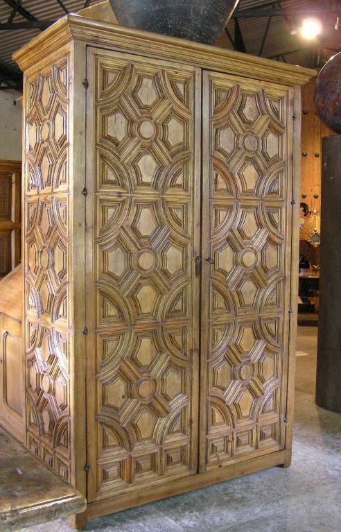 Large Spanish Colonial Style Entablature Armoire From A Unique Collection Of Antique And Modern Wardrobes An