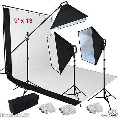 9u0027x13u0027 BW Backdrop Support Stand Photography Studio Video 3 Softbox Lighting Kit  sc 1 st  Pinterest & 9u0027x13u0027 BW Backdrop Support Stand Photography Studio Video 3 Softbox ...