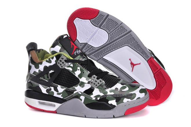 Air Jordan 4 Camouflage Army Green Black Red Mens Shoes 68185 ...