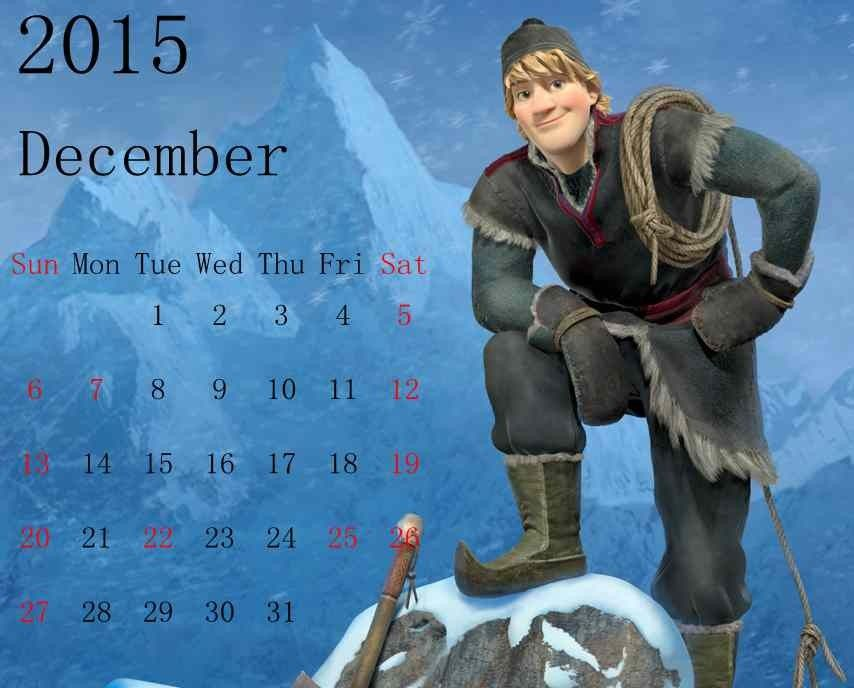 Frozen Printable Kristoff Snow World  New Year Calendar