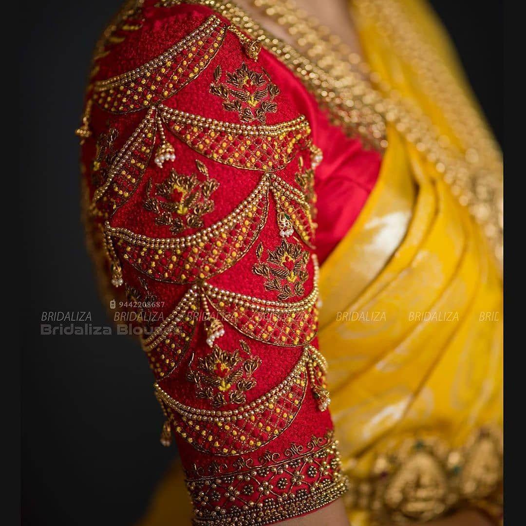 "@designer_blouse_ideas on Instagram: ""Bridal Blouse Sleeve detailing"