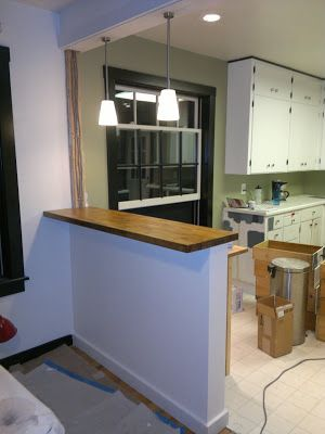 My Stupid House Building A Sturdy Half Wall Bar Top Half Wall Room Divider Half Wall Kitchen Small Kitchen Bar