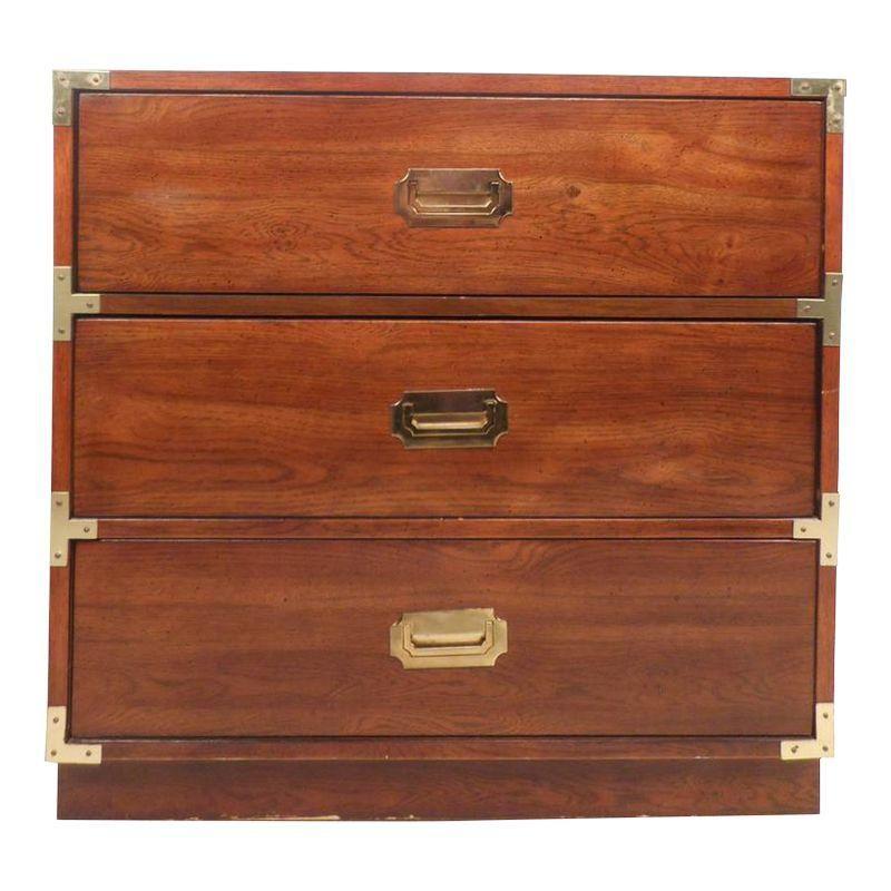 Mid Century Modern Campaign Style Three Drawer Chest By Bernhardt Campaign Dresser Midcentury Modern Walnut Wood
