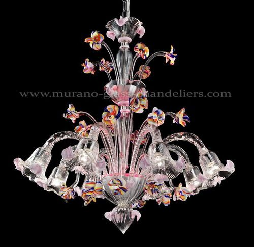 Murano Glass Pink Floral Chandelier Murano Glass Chandelier