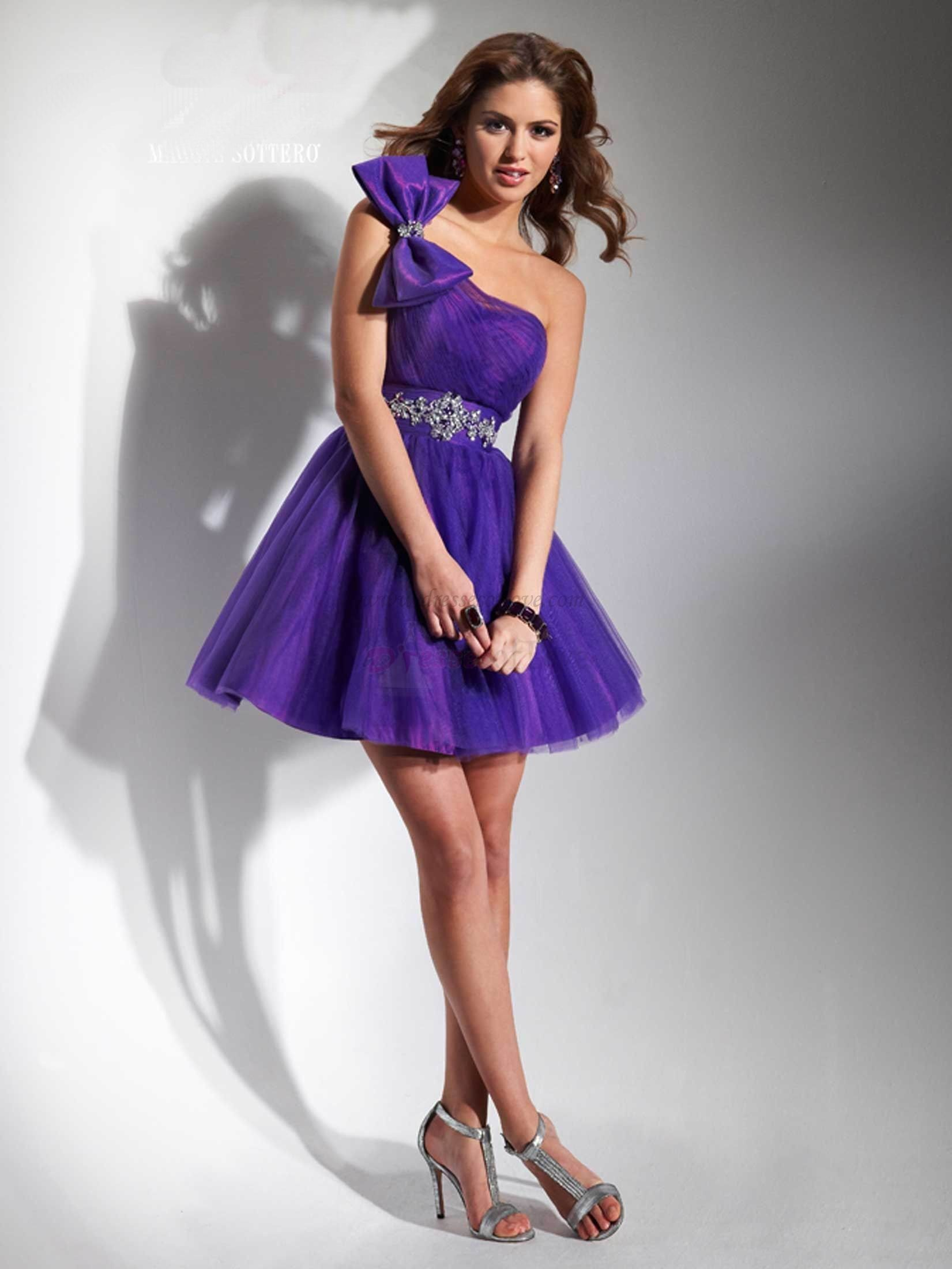 Gorgeous one shoulder bow knot beaded purple inexpensive short