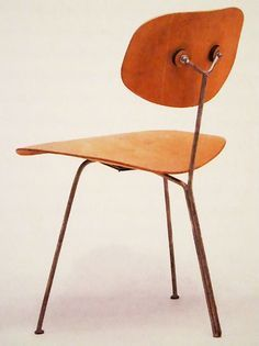 charles ray eames 3 legged chair chromed metal and plywood usa