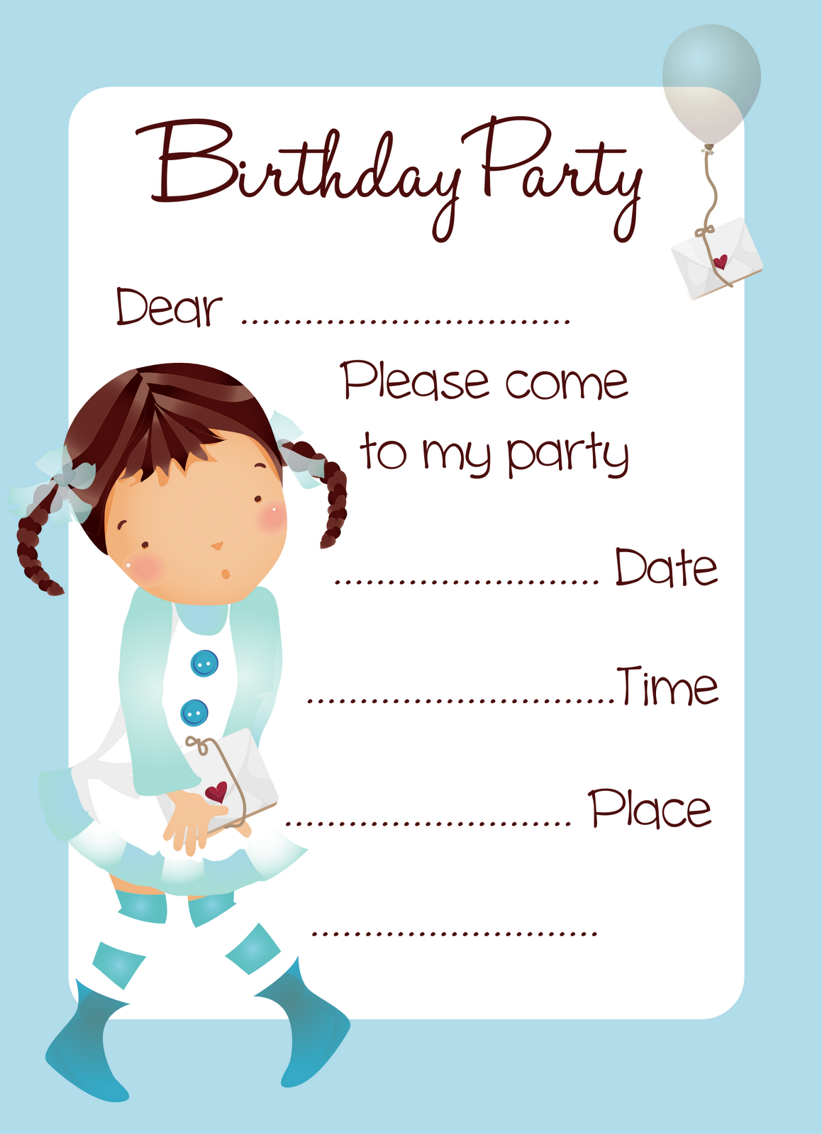 Free Balloon Girl Birthday Party Invitation Printable Be