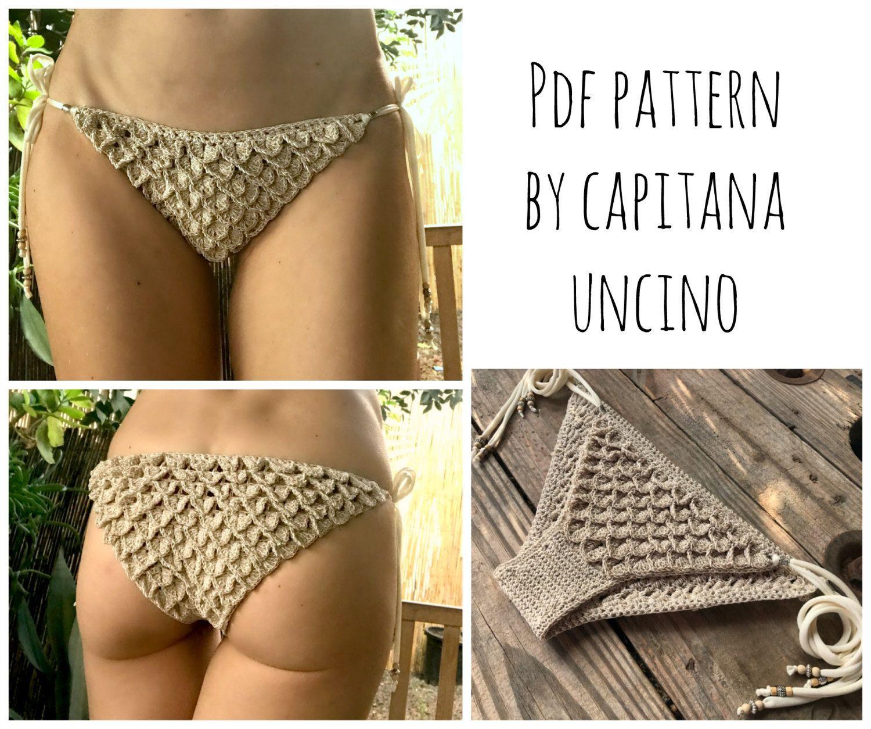 PDF-file for Crochet PATTERN, Ariella Mermaid Crochet Bikini Bottom with side ties, Sizes XS-L