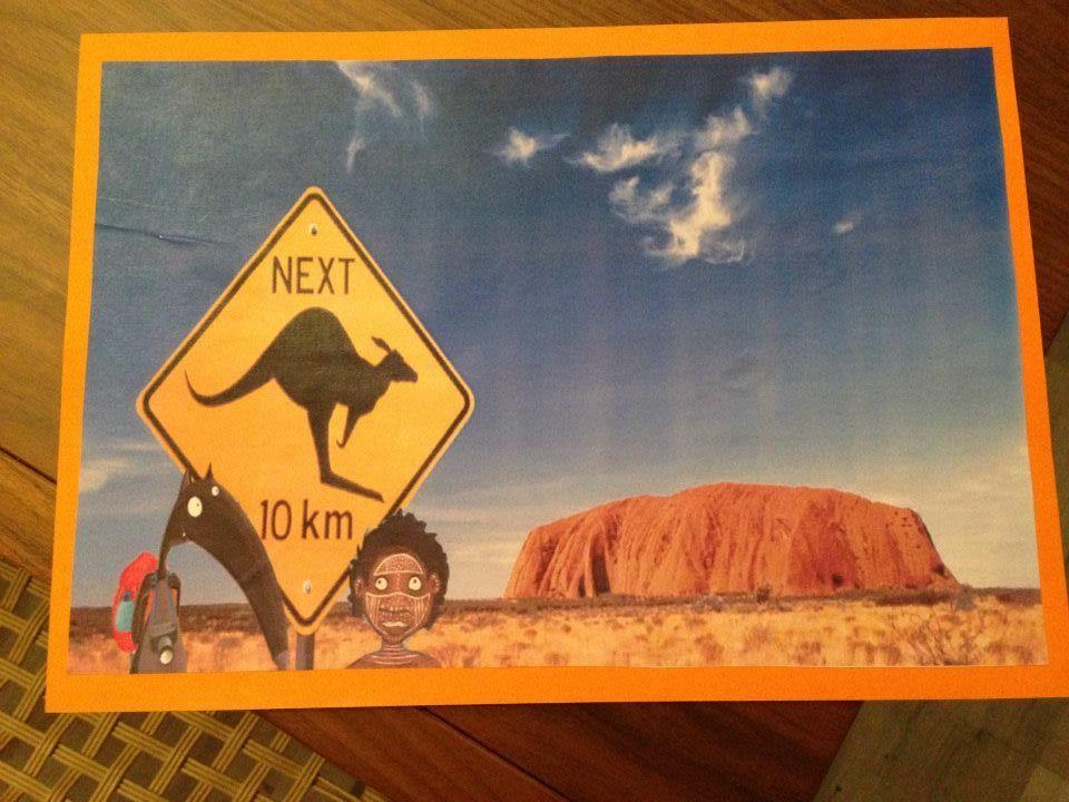 Carte Australie Chine.Carte Postale Le Tour Du Monde De Loup L Australie La Maternelle