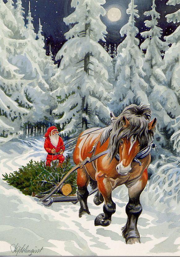 Frohe Weihnachten Norwegisch.Leif Holmqvist Zwerge Nisse Tomte Christmas Pictures