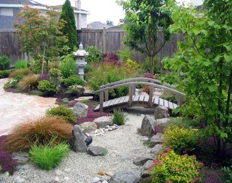steingarten trockengarten im asiatischen-stil zen-brücken Garten
