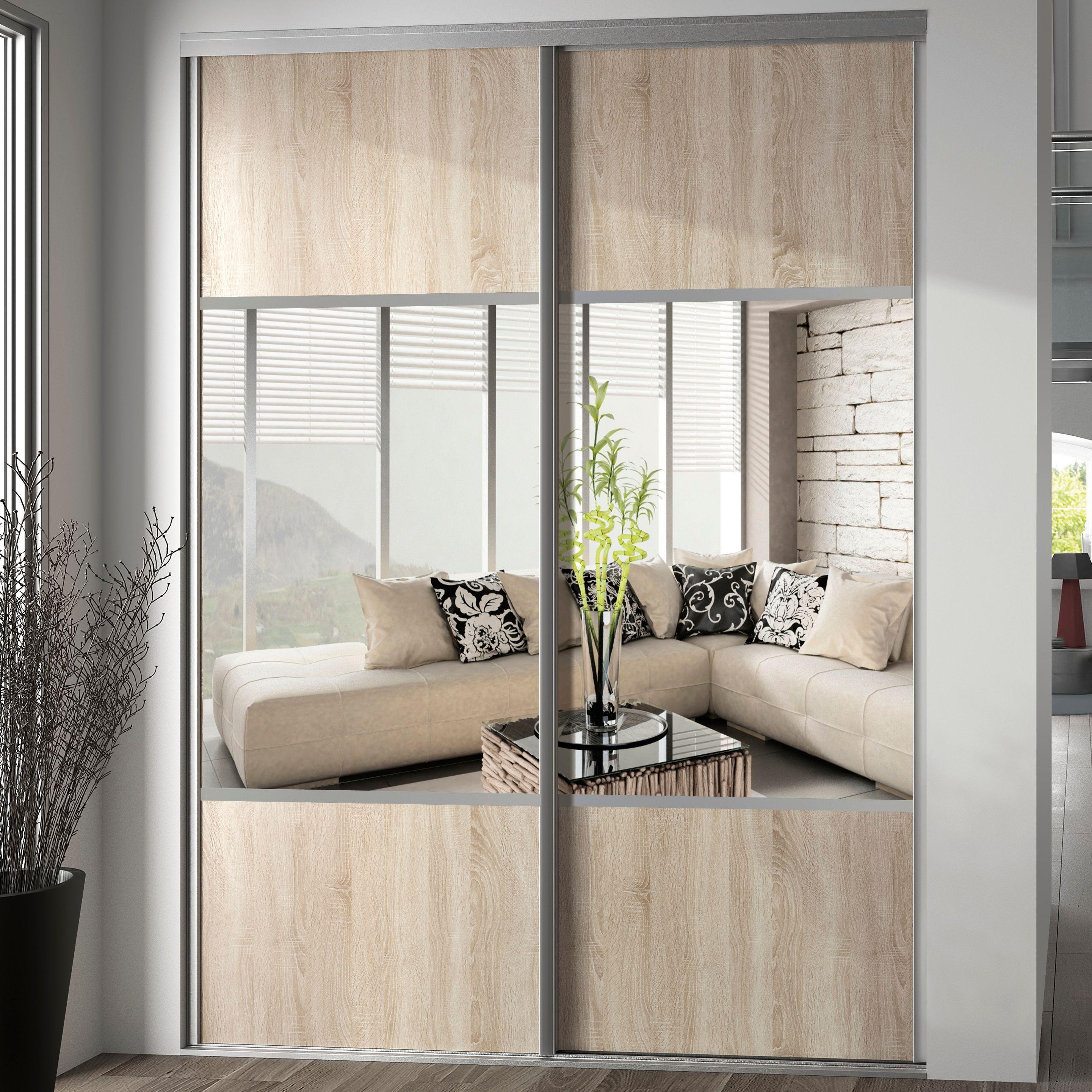 Valla Mirrored Oak Effect Sliding Wardrobe Door H 2260 Mm W 772mmbeige En 2020 Placard Coulissant Porte Placard Coulissante Portes De Placard Coulissantes Miroir