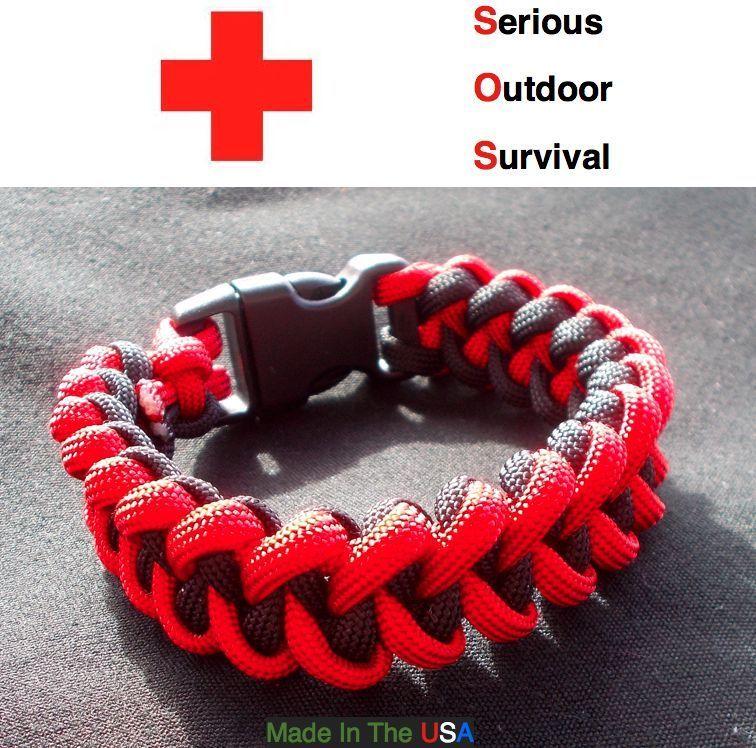 Outdoor Survival Paracord Camo Shark Jaw Bracelet USA made
