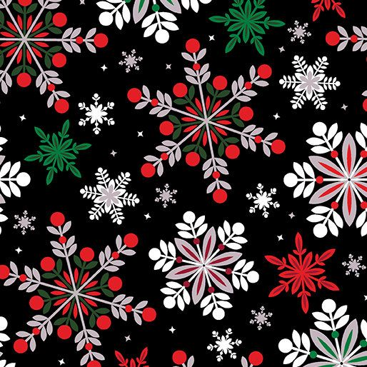 Christmas Fabric Winter Story Snowflake Fabric Red Green And White Snowflakes On A Black Background By Benartex 8628 Christmas Phone Wallpaper Wallpaper Iphone Christmas Christmas Wallpaper