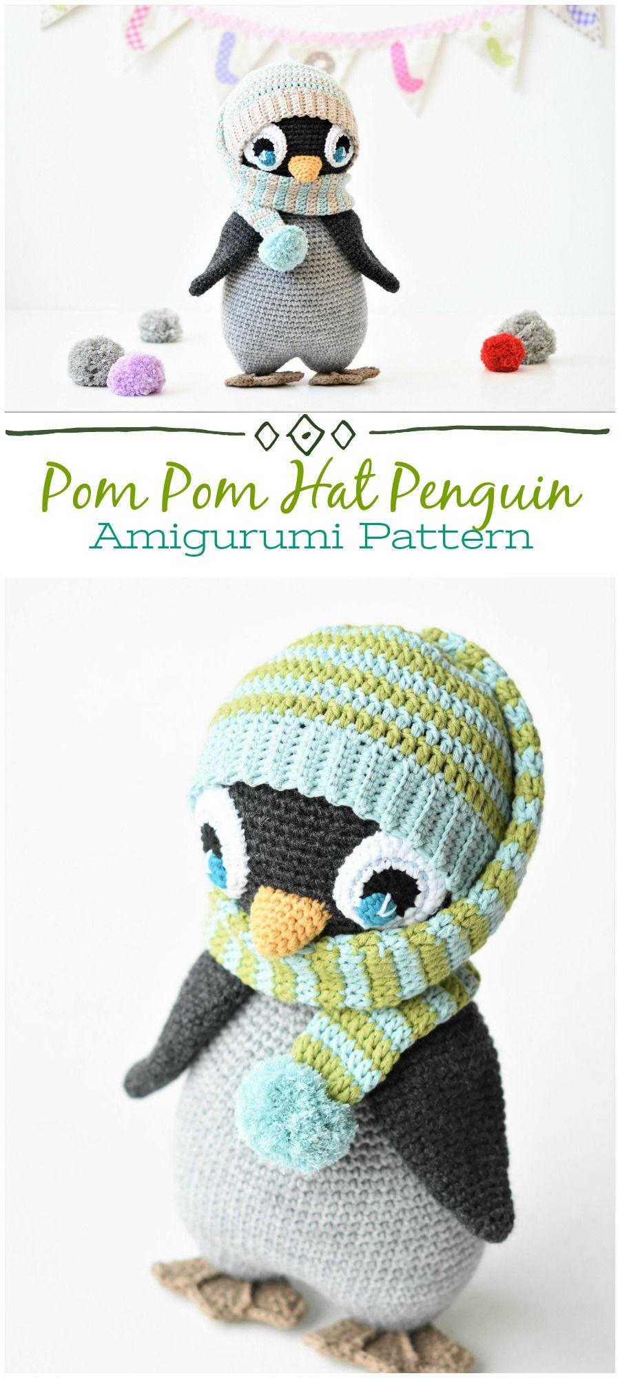 PATTERN - Pompom hat penguin - crochet pattern, amigurumi pattern ...