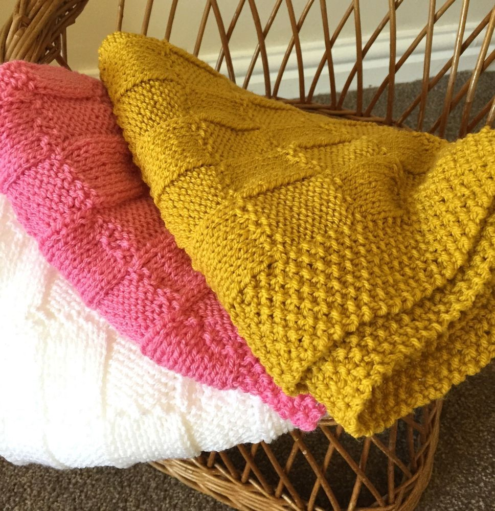 Knitting pattern Easy Knit Checks Baby Blanket (With
