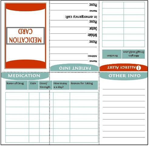 fold-to-wallet-size medication information card... important for in ...