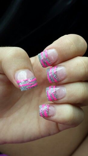 Silver Acrylic Tips With Hot Pink Zebra Stripes Nail Designs