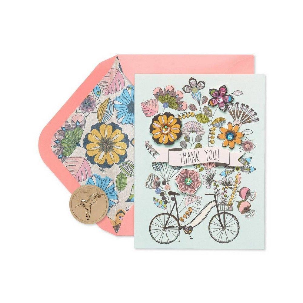 8ct flowers bike handmade boxed thank you blank note
