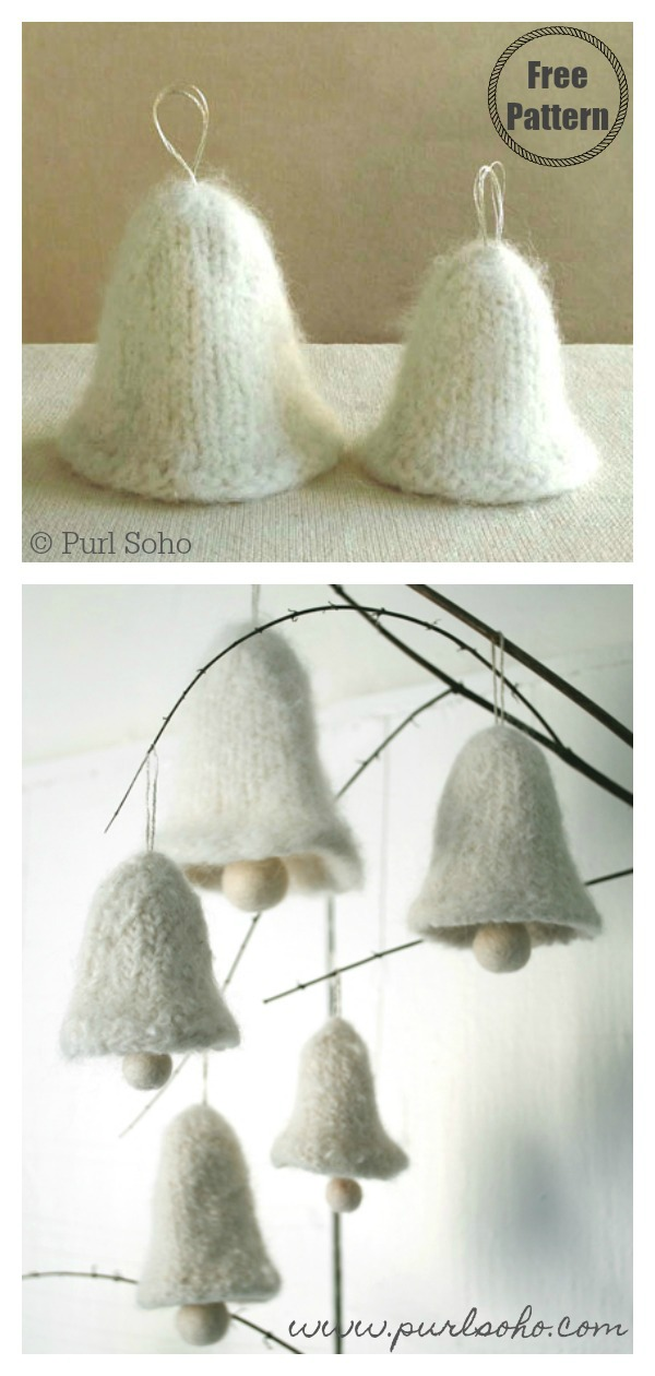 Christmas Bell Ornament Free Knitting Pattern (With images)   Christmas knitting patterns free ...