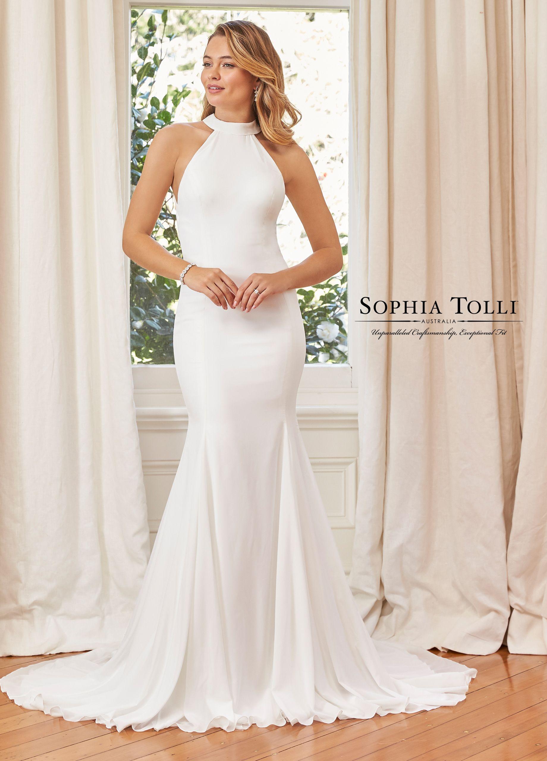 Simple Fit Flare Halter Neckline Wedding Gown Y11972 Tate