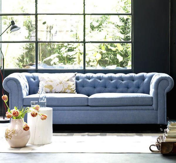 Chesterfield Sofa Tufted Couch Blue Leather Sofa Blue Sofa