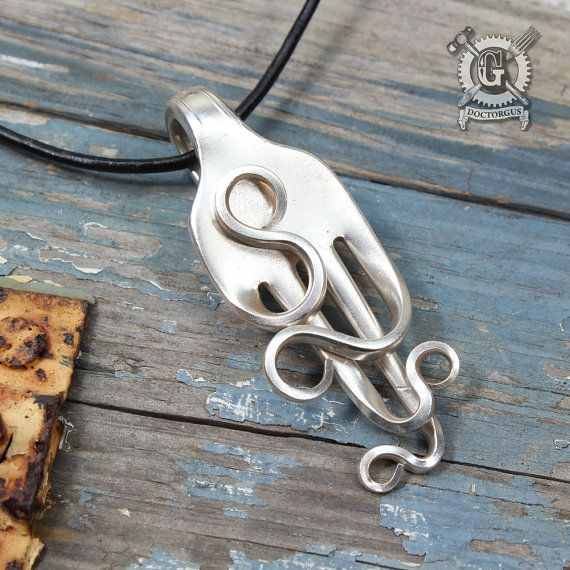 from upcycled style creations squiggly antique silverware unique recycled handcrafted boho jewelry pendant fork pin doctor an gus