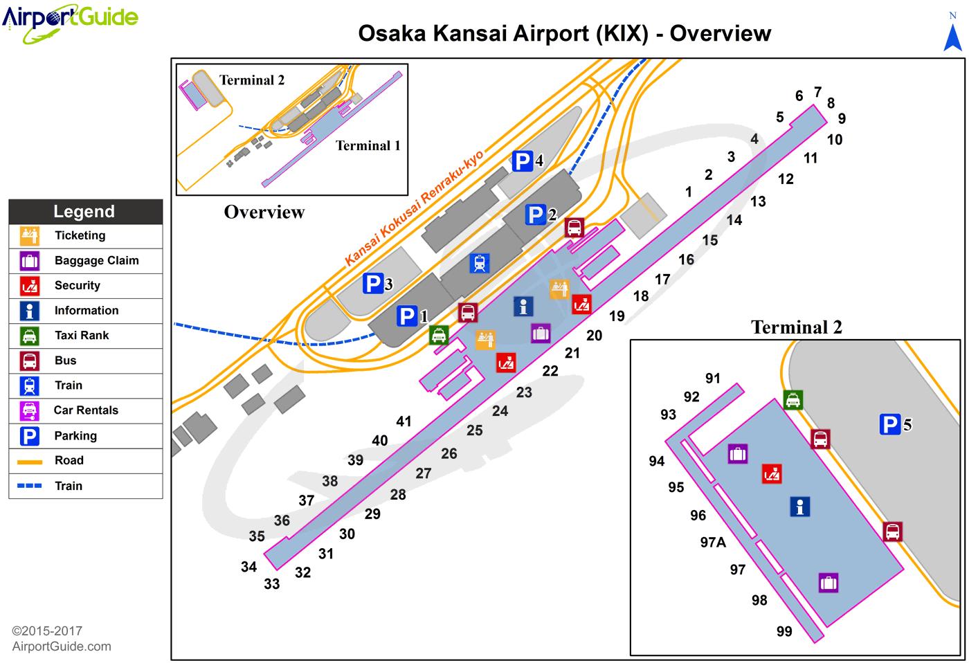 map of kansai airport Osaka Kansai International Kix Airport Terminal Map Overview map of kansai airport