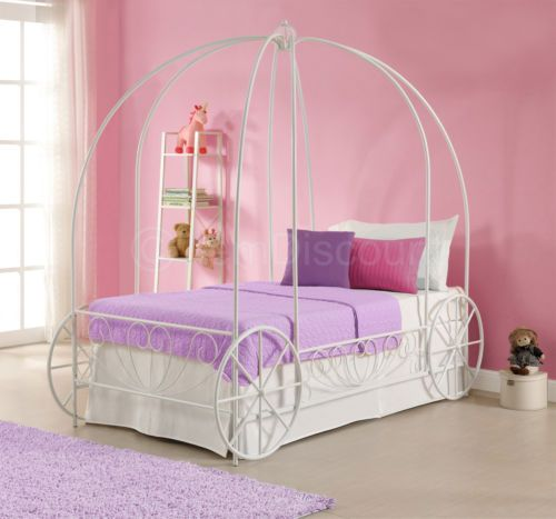 Twin White Metal Princess Cinderella Carriage Kid Girls Toddler Canopy Bed Frame Toddler Canopy Bed Girls Bed Canopy Canopy Bed Frame