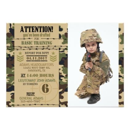 Army Woodland Camouflage Military Birthday Card Invitation Ideas