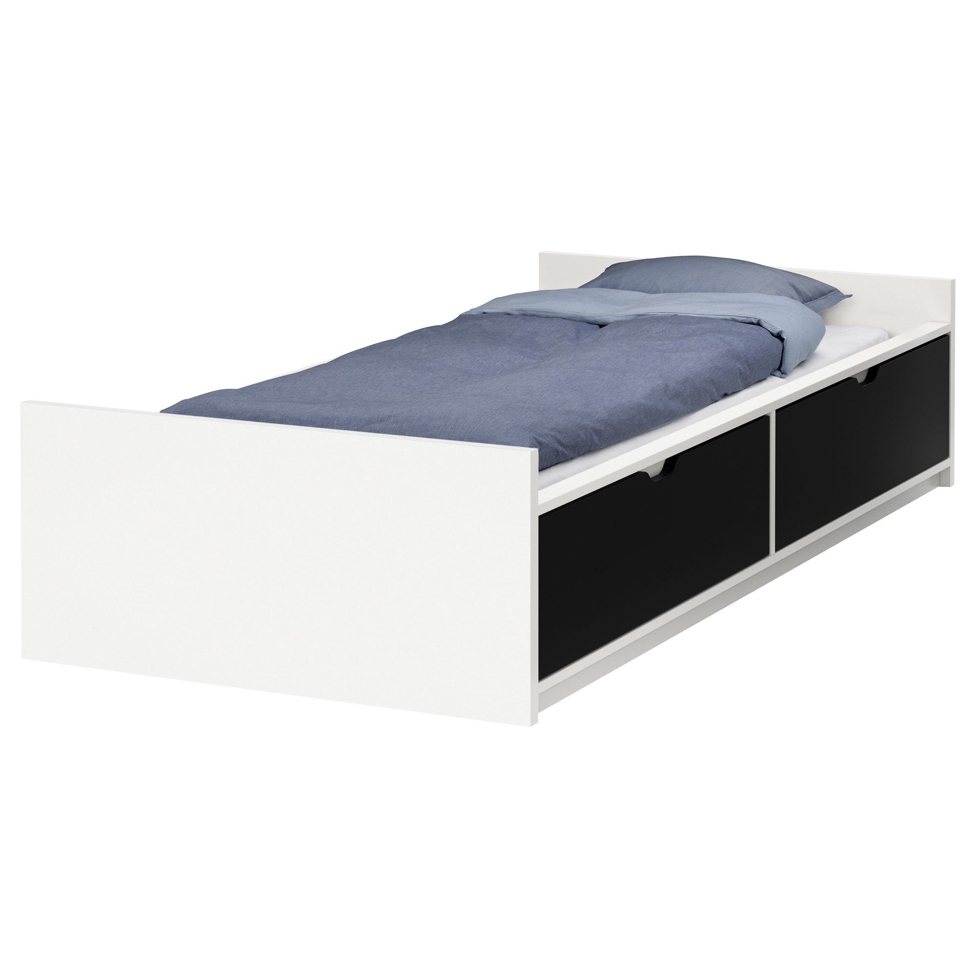 Bed frame design with drawers - Flaxa Bed Frame W Storage Slatted Bedbase Ikea What Color Is Drawer
