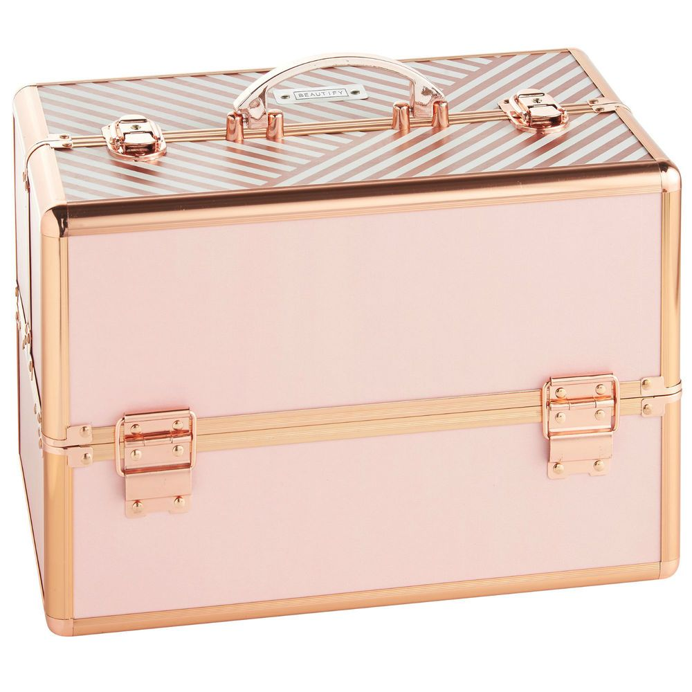 Beautify Professional Large Blush Pink Beauty Box Cosmetic Makeup Vanity Case In 2020 Makeup Storage Box Cosmetic Organizer Makeup Storage