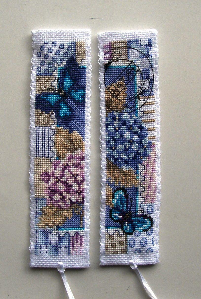 Vervaco cross stitch bookmarks-blue butterflies
