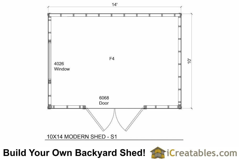 10x14 Modern Shed Plan Floor Plan Modern Shed Shed Plans Shed Floor Plans