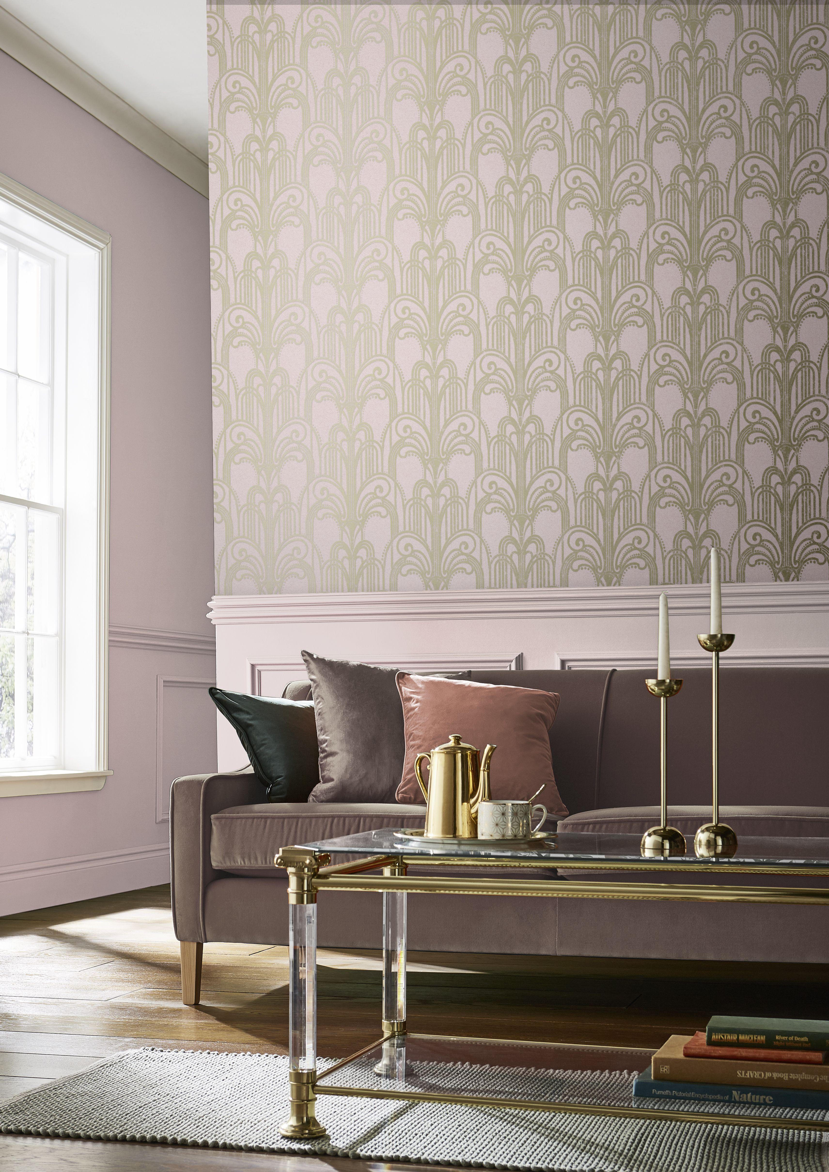 Art Deco Blush Wallpaper Art Deco Living Room Blush Wallp