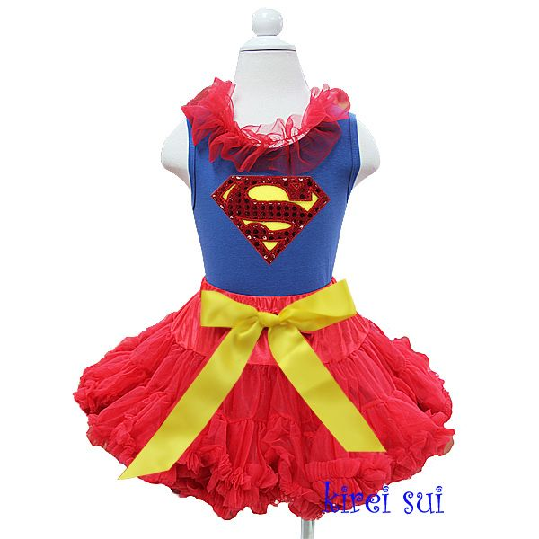 Girls KS Red Yellow Bow Pettiskirt with Bling Supergirl Red Ruffles Blue Tank Top