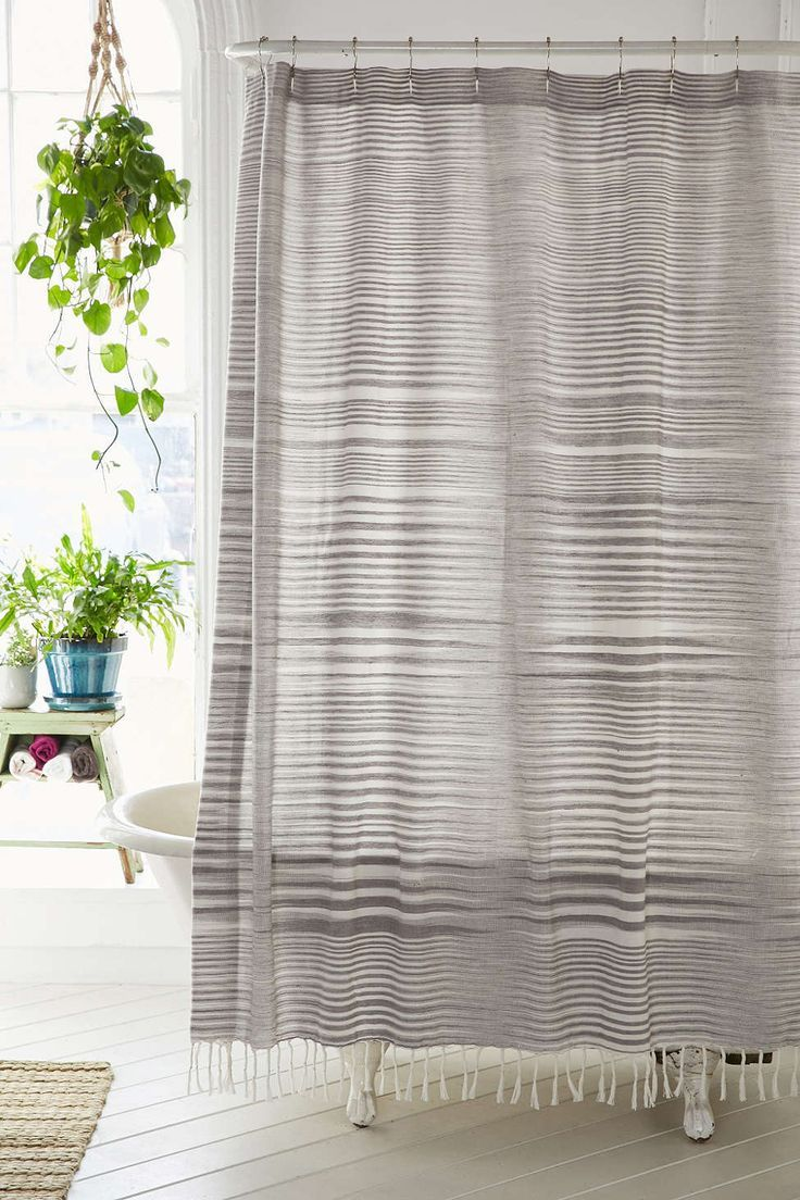 shower curtains perfect for a grown up bathroom  striped linen  - striped linen shower curtain