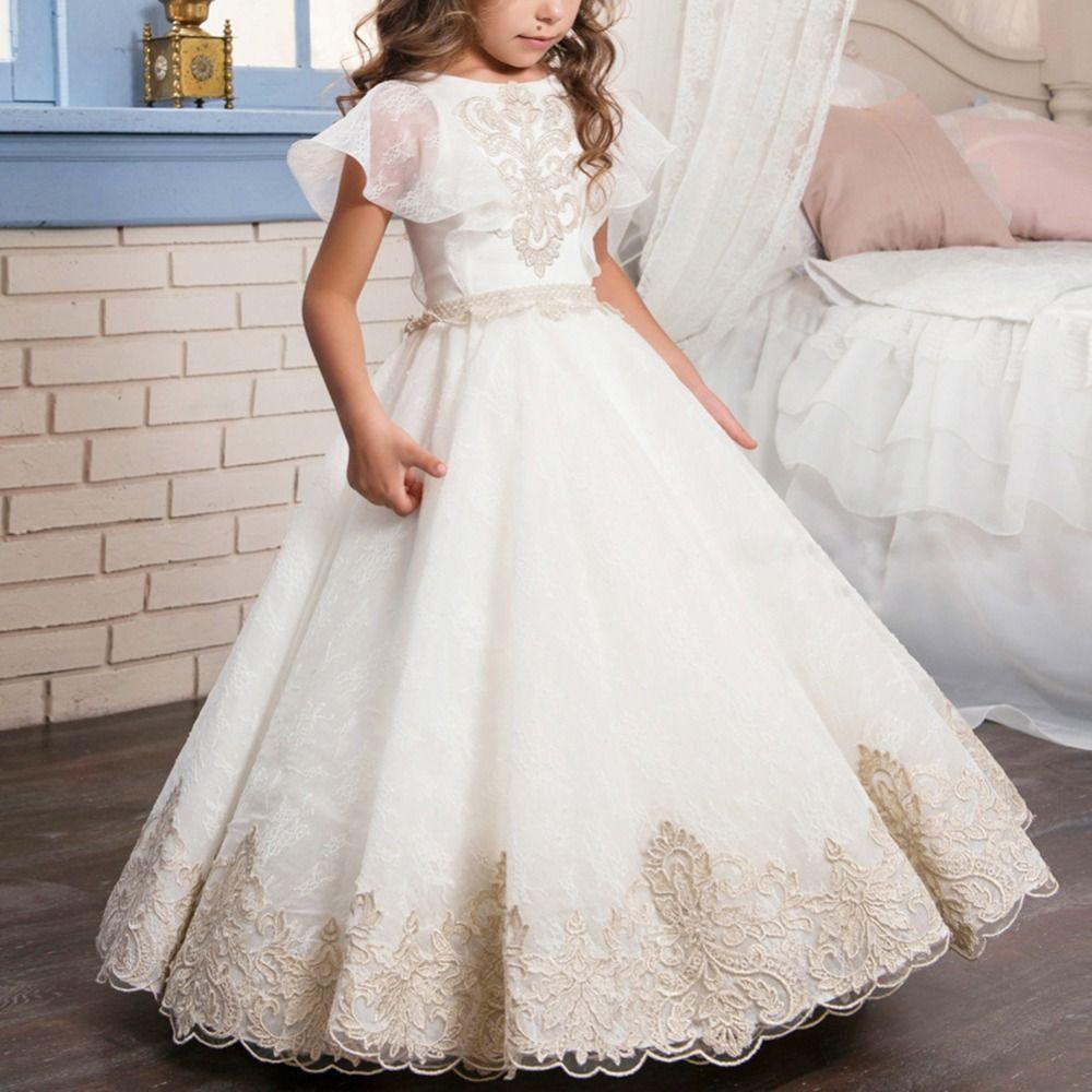 1ba8e8fec Vintage Girls Dress Flower Embroidery Girls Party Dress Wedding ...