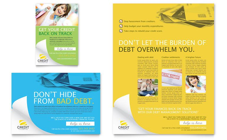 Consumer Credit Counseling Flyer Ad Template Design Brochure