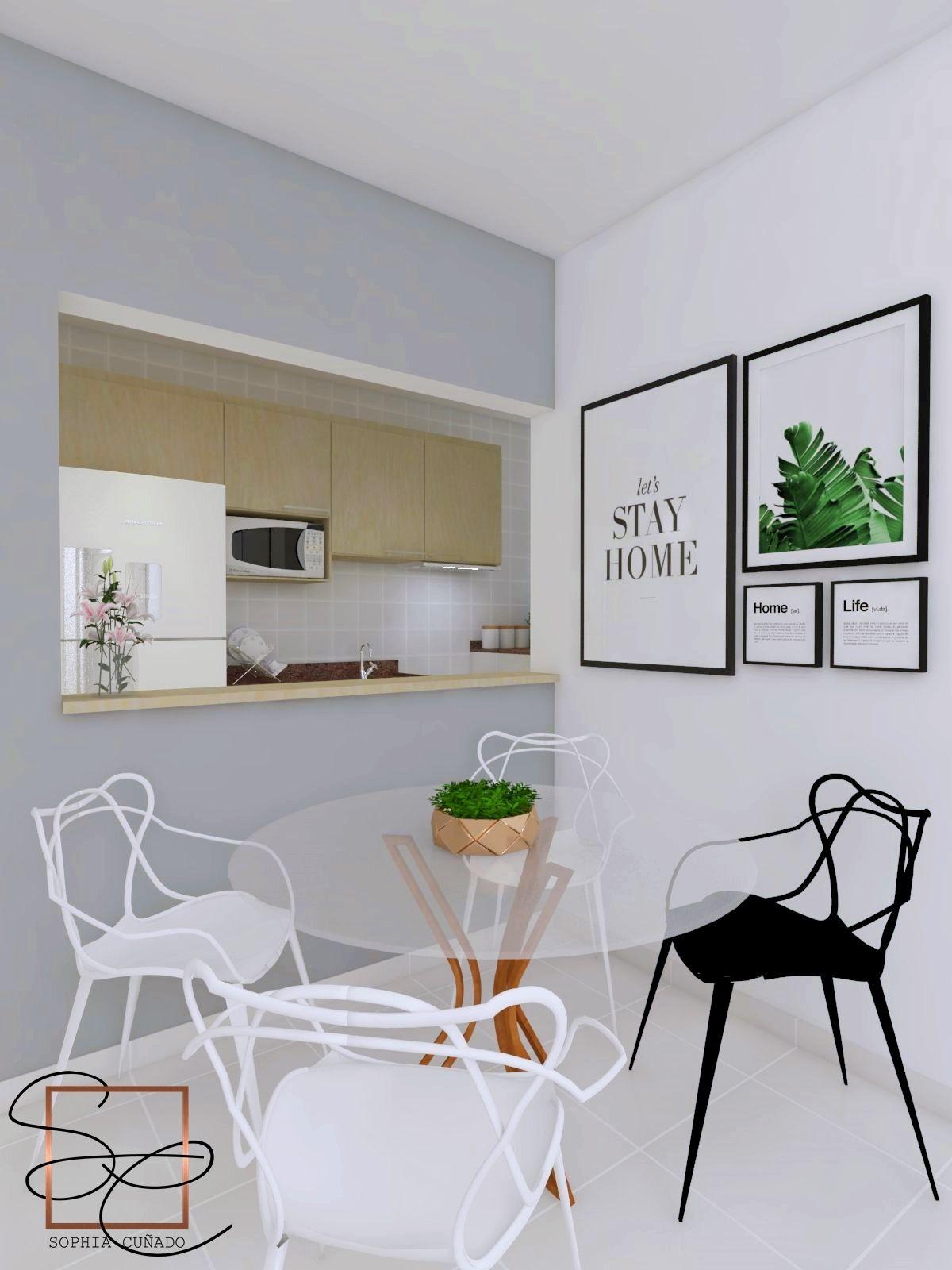 Sala De Jantar Com Cozinha Americana Projeto E 3d Por Sophia