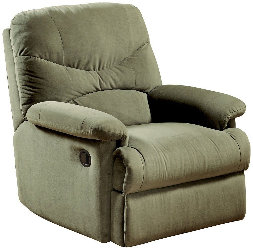 Microfiber Living Room Chairs Reclining Chair Recliner Microfiber Sage Green Plush Comfortable