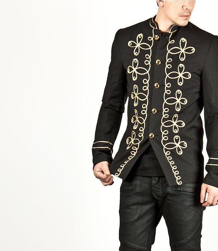 Handmade Men Gold Flower Embroidery Black Military Napoleon