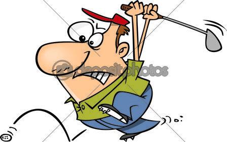 Hombre de dibujos animados persiguiendo la pelota de golf