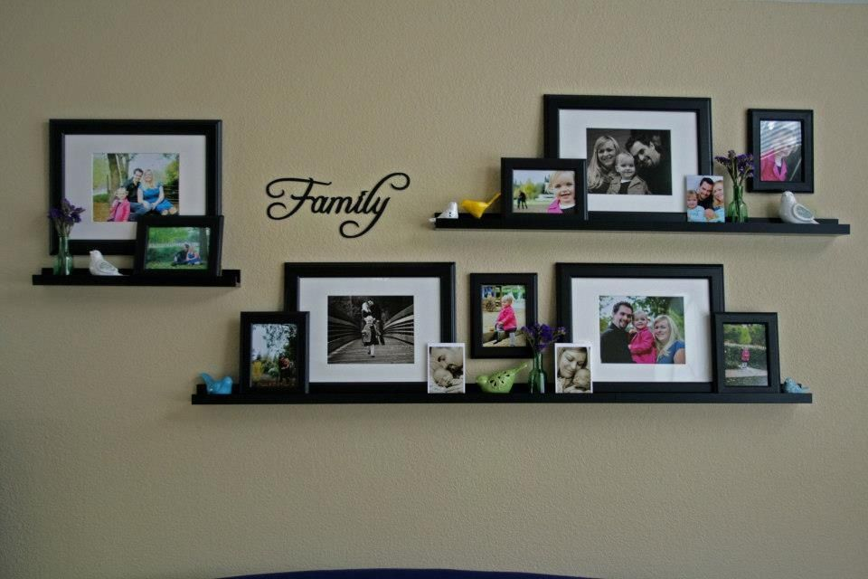Family Photo Wall Collage Using Frames And Frame Shelves