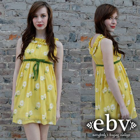 Vintage 60's YELLOW Babydoll Floral Daisy Print Empire by shopEBV, $48.00