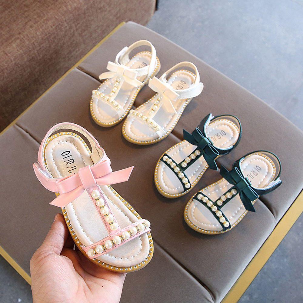 a164aca06c $8 Kids B aby Girls San dalsBowknot Pearl Crystal Roman Sandals ...