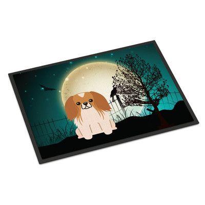"""Caroline's Treasures Halloween Scary Pekingnese Doormat Rug Size: 1'6"""" x 2'3"""""""