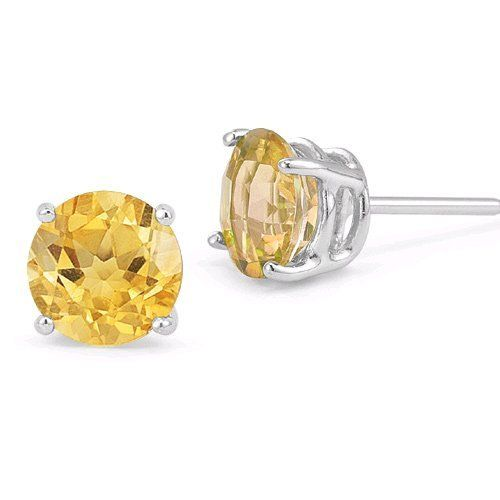 8mm Citrine Stud Earrings In Platinum Push Back Posts Les